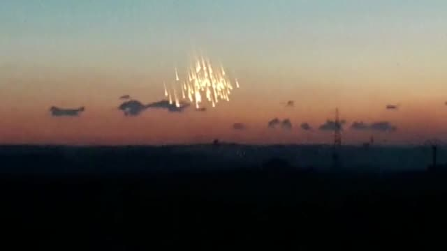 various shots seen from both aleppo and idlib show that flames and smoke rise after russian forces allegedly use cluster and phosphorus bombs on... - syrien stock-videos und b-roll-filmmaterial
