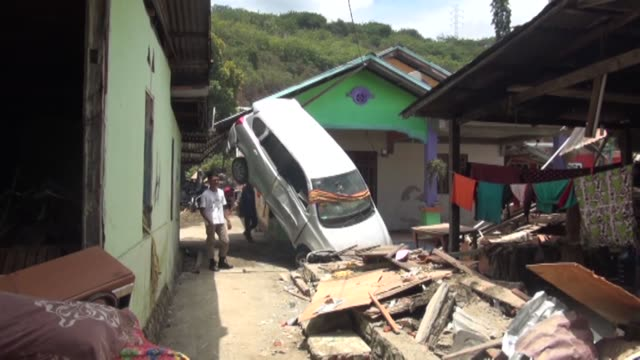 Various shots shows from the quakehit Palu city Central Sulawesi province of Indonesia on October 07 2018 The death toll from the 74magnitude...