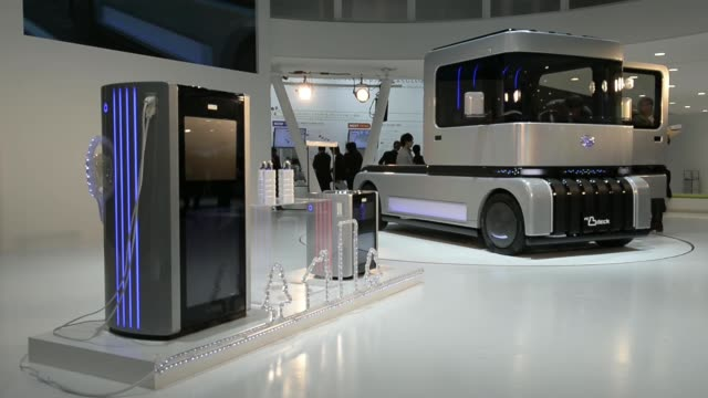 Various shots the Dihatsu Motor Co FC Deco Deck cellpowered concept vehicle is displayed at the 43rd Tokyo Motor Show 2013 in Tokyo Japan on...