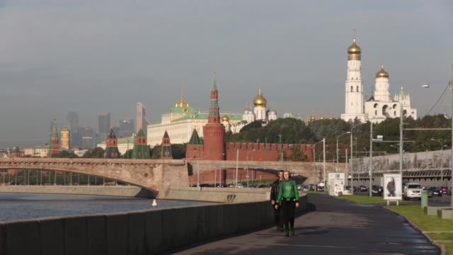 various shots the moskva river with moscow international business center also known as moscow city and the kremlin on the skyline in moscow on friday... - river moscva stock videos & royalty-free footage
