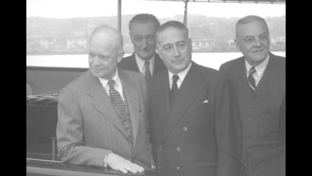 various shots ms us pres dwight eisenhower us secretary of state john foster dulles french prime minister rene mayer and french foreign minister... - airfield stock videos & royalty-free footage
