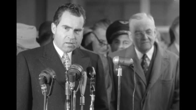 various shots ms us vice president richard nixon at microphones with secretary of state john foster dulles behind him as nixon speaks of france's... - minister president stock videos and b-roll footage
