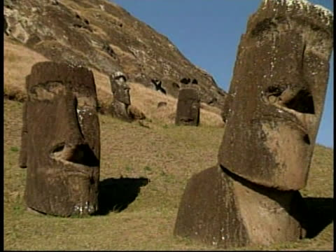 stockvideo's en b-roll-footage met various sizes of moai statues rest on a hillside on easter island, the birthplace of moai. - geboren in