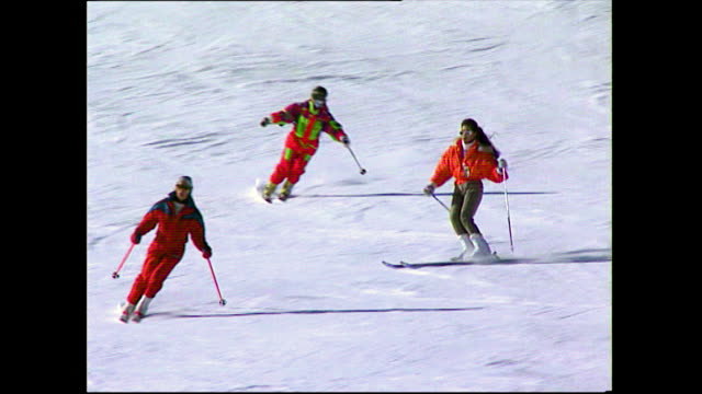 various skiers and snowboarders on the slopes; 1993 - ski lift stock videos & royalty-free footage