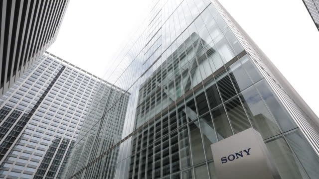 various sony corp. products are displayed at the company's headquarters in tokyo, japan, on friday, july 27, 2018. - sony stock-videos und b-roll-filmmaterial
