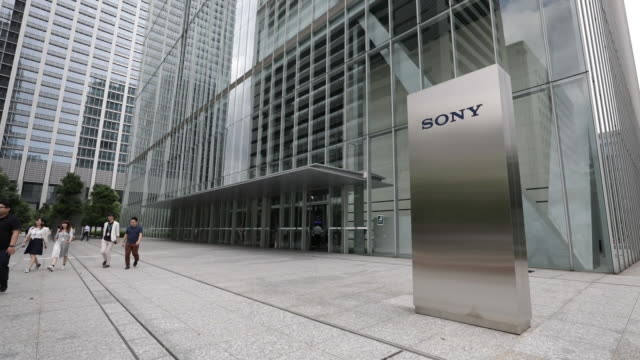 vídeos de stock e filmes b-roll de various sony corp products are displayed at the company's headquarters in tokyo japan on friday july 27 2018 - sony