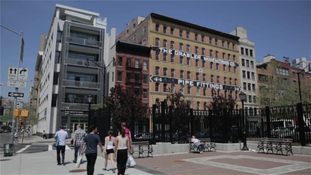 Various street scenes and exteriors in the Tribeca area of Manhattan New York on May 12th 2015 Shots Shots pan across old factory buildings now...