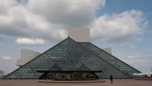 various time lapse shots of cleveland, ohio, time lapse shots of the exteriors of the rock and roll hall of fame and musem collection auto group... - finance and economy stock videos & royalty-free footage
