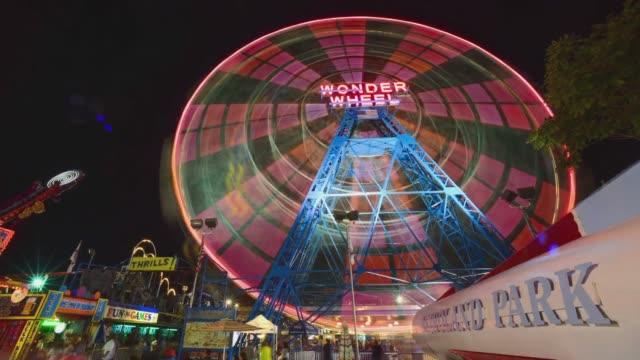 various time lapse shots of the wonder wheel at denos wonder wheel amusement park in coney island, wide time lapse shots of the wonder wheel at... - coney island stock videos & royalty-free footage