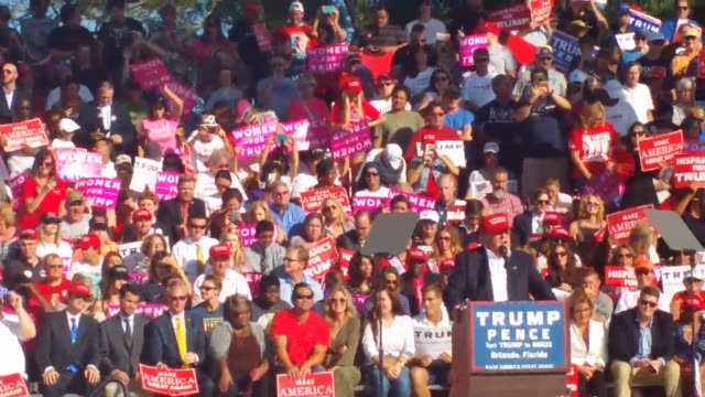 various video clips of presidential candidate donald trump speech in orlando florida on november 2nd 2016 a trump supporter is describing what issues... - 政治集会点の映像素材/bロール