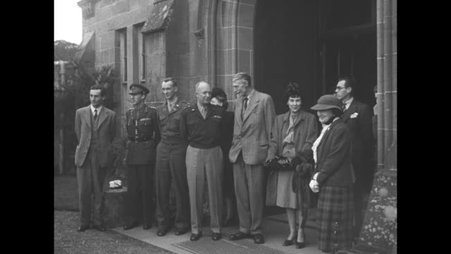 various views of culzean castle in scotland / general and mrs dwight eisenhower son captain john eisenhower angus kennedy the 6th marquess of ailsa... - 1946 stock videos and b-roll footage