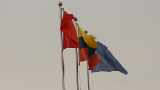 various views of dos caminos flags waving in the wind dos caminos flags on september 17 2012 in venezuela american samoa - samoa stock videos & royalty-free footage
