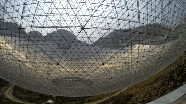 Various views of the Five hundred meter Aperture Spherical Telescope in Guizhou Province China