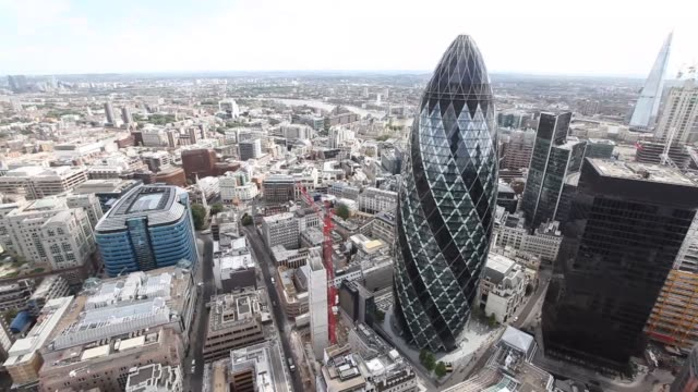 various views of the Gherkin building from London's tallest building the Heron Tower The Gherkin building from the Heron Tower on August 03 2012 in...