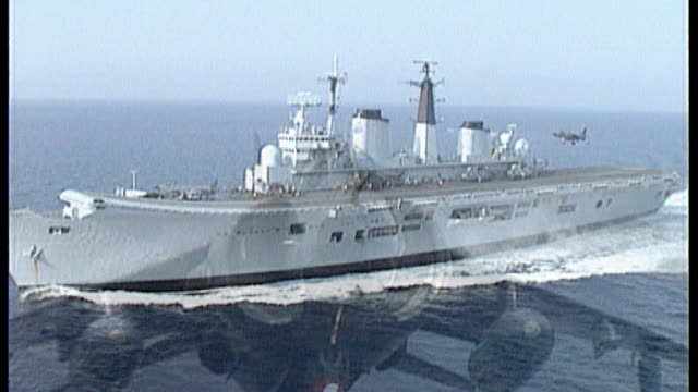various views of the hms ark royal aircraft carrier and sea harrier planes taking off from the deck - aircraft carrier stock videos & royalty-free footage