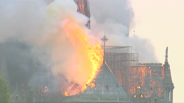 various views of the notre dame cathedral fire - fire natural phenomenon stock videos & royalty-free footage