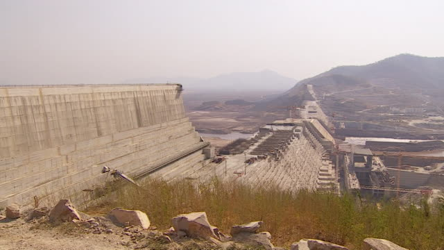 various views of the partially constructed grand ethiopian renaissance dam in ethiopia - variation stock videos & royalty-free footage