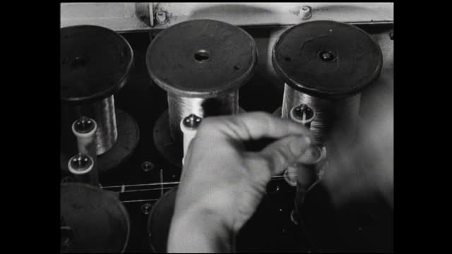 various views of workers working with various machinery, assembling switchboards; workers wheeling switchboards out of the room; hands replacing... - 1940 1949 stock videos & royalty-free footage