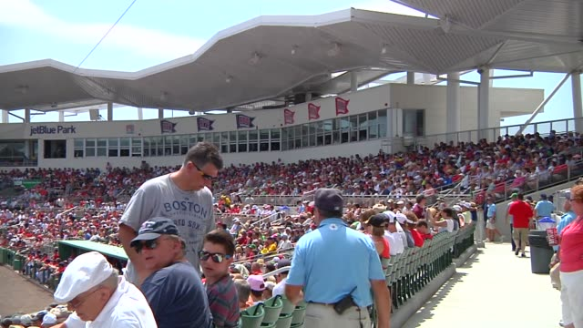various wide shots of jetblue park at fenway south the boston red soxs spring training facility in fort meyers florida on march 23 a wide shot of a... - spring training stock videos & royalty-free footage