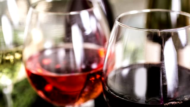 various wine selections, bottles for wine tasting event at winery. - rose wine stock videos and b-roll footage