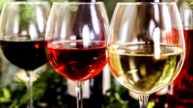 vídeos de stock e filmes b-roll de various wine selections, bottles for wine tasting event at winery. - natureza morta