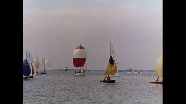 montage various yachts and sail boats in a race in cowes / united kingdom - mast sailing stock videos & royalty-free footage
