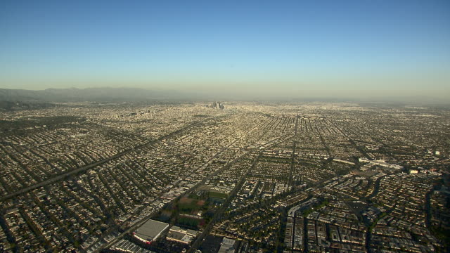 Vast cityscape of Los Angeles, California, from an aerial perspective.