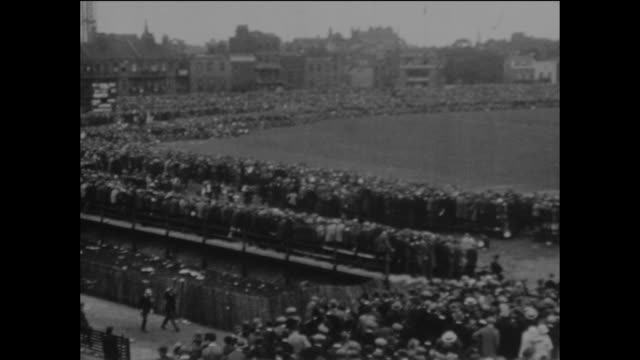 a vast crowd watching a cricket match at the kennington oval home of surrey county cricket club in london circa may 1925 - organised group stock videos & royalty-free footage