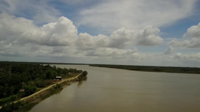 a vast river splits between two large mangrove forests on the islands of sunderbans, india - westbengalen stock-videos und b-roll-filmmaterial