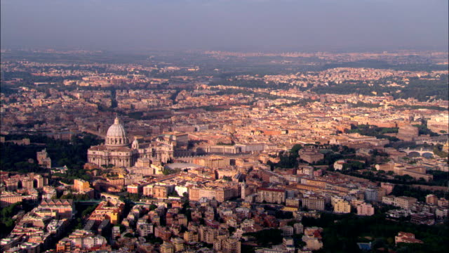 vatican city and st peter's  - aerial view -, vatican city - rome italy stock videos and b-roll footage