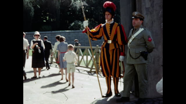1960 vatican city entrance - rome italy - swiss guard stock videos and b-roll footage