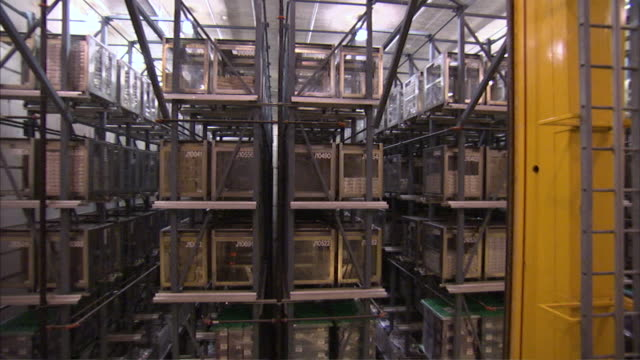 MS PAN Vault filling with towers of cash in crates / Kansas City, Kansas, United States