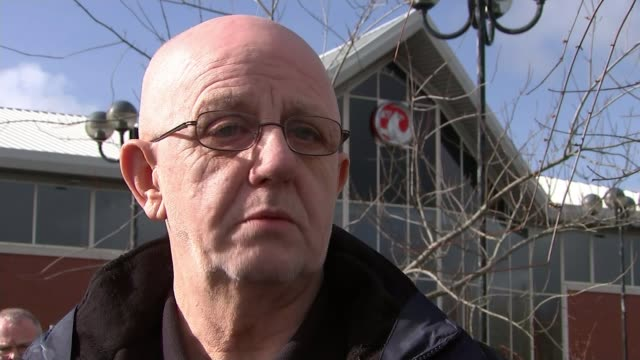 view from ellesmere port england cheshire ellesmere port ext john cooper chatting to reporter 'unite' logo on jacket john cooper interview sot... - coleslaw stock videos & royalty-free footage