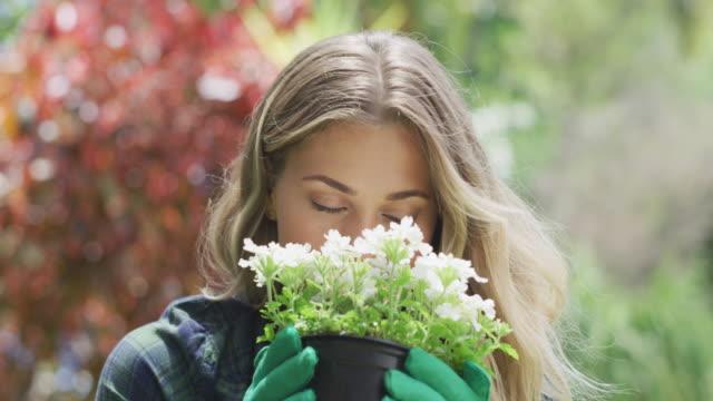 vidéos et rushes de je jardine depuis l'âge de cinq ans. - sentir