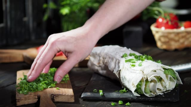 vegan roll with celery - chopped lettuce stock videos & royalty-free footage