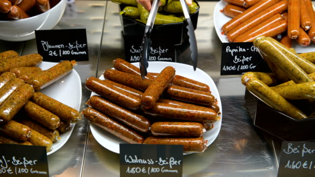 vegan sausage products are displayed at the vegan butchery vetzgerei by owner sarah pollinger on january 25 2018 in berlin germany the butchery... - sausage stock videos & royalty-free footage