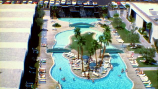 vegas scenic / circus circus / slot machines / intercontinental hotel / swimming pool and diving / vegas vacation on july 01 1970 in las vegas nevada - tourist resort stock videos & royalty-free footage