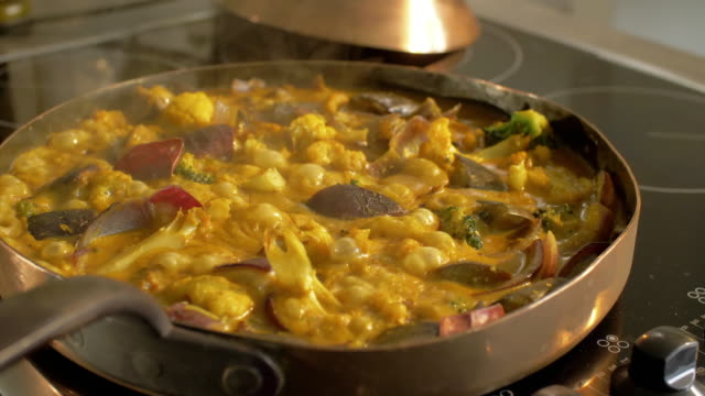 vegetable curry in pan - frying pan stock videos and b-roll footage
