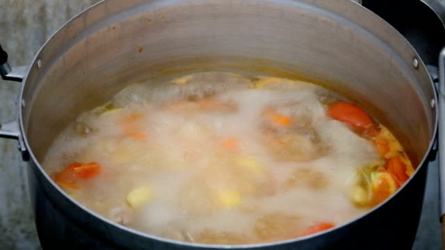 Vegetable soup in pot