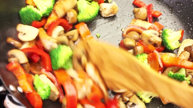 Vegetables and chicken breast being fried in a wok