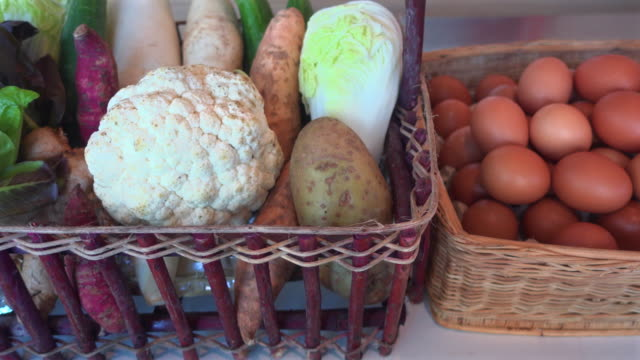 vegetables and eggs in basket - basket stock videos and b-roll footage