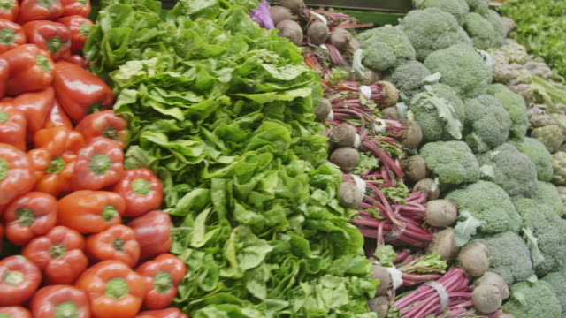 vegetables in a row in buenos aires supermarket - dolly shot stock videos & royalty-free footage