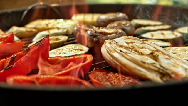 slo mo vegetables on the barbecue grill - mushroom stock videos & royalty-free footage