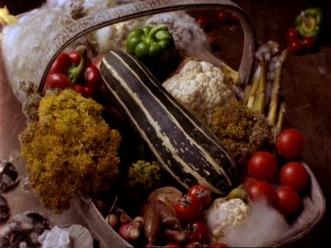 CU T/L vegetables rot in a wooden basket