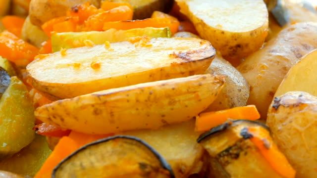 vegetables slices, baked in the oven - roasted stock videos & royalty-free footage