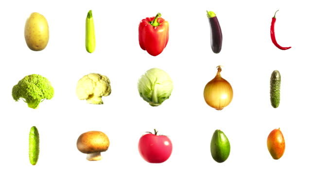 vegetables spinning rotating isolated on white background - broccoli stock videos & royalty-free footage