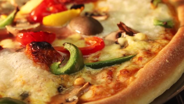 A vegetarian pizza in an oven