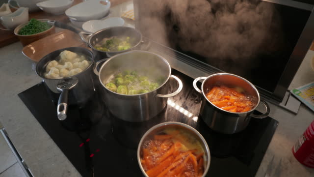 veggies getting boiled - boiling stock videos & royalty-free footage