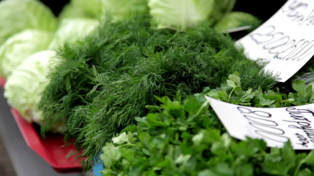 vegitables for sale on the market - dill stock videos and b-roll footage