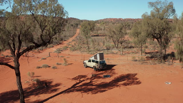 a vehicle camped in the simpson desert - beauty in nature stock videos & royalty-free footage